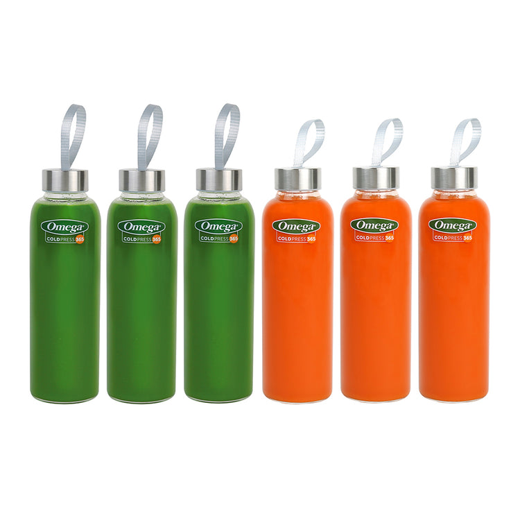Omega Travel Glass Juice Bottle 6-Pack-Omega Juicers