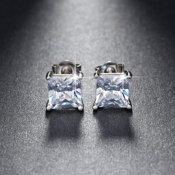 Square Crystal Stud Earring