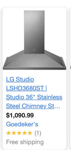 Lg studio 36  stainless steel chimney new