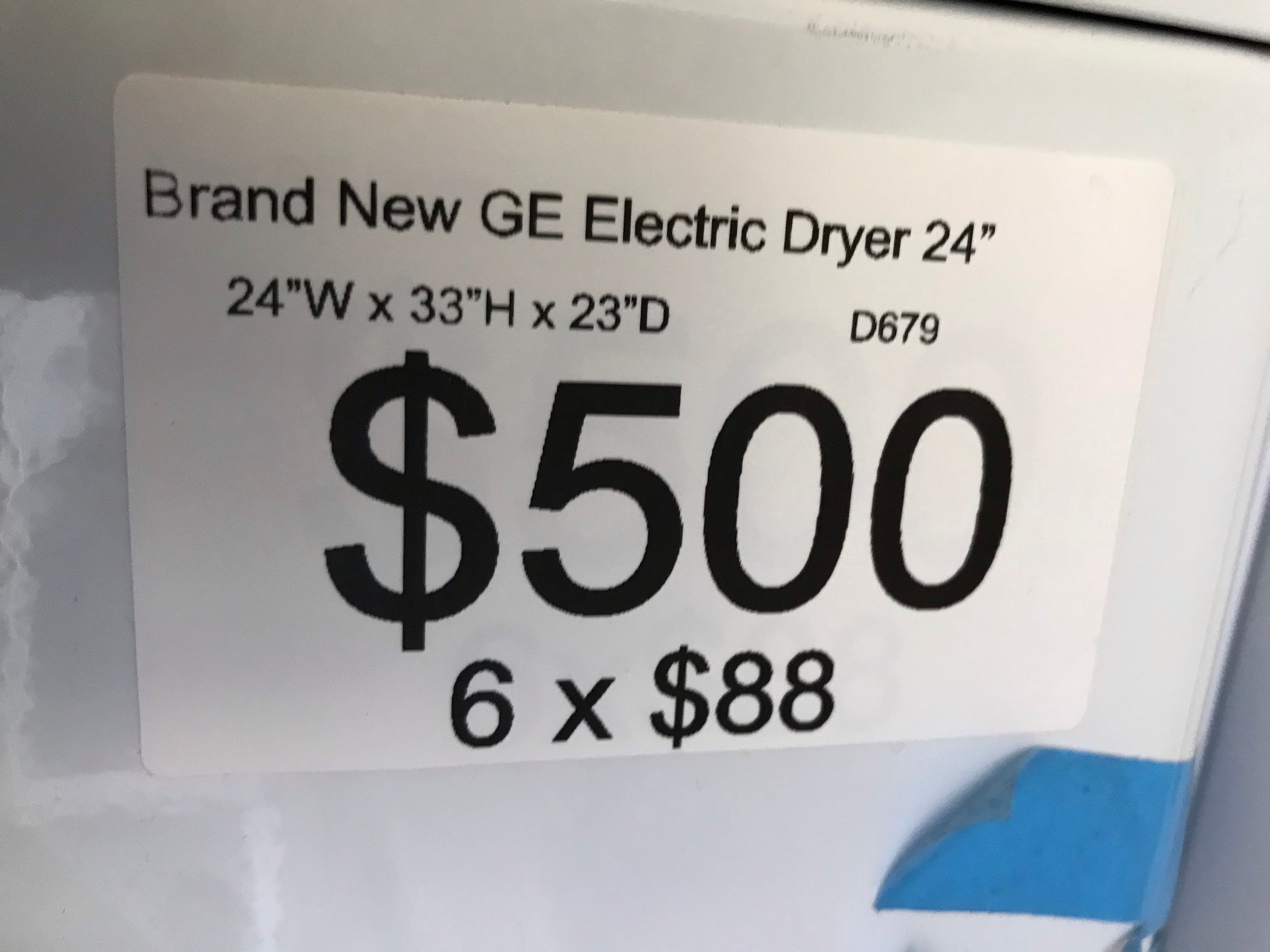 "Brand New Open box GE 24"" ventless dryer machine electric 220v front load stainless steel drum stackable"