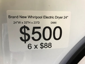 "Brand New Open box Whirlpool 24"" dryer machine ventless electric 220v front load stainless steel drum stackable"