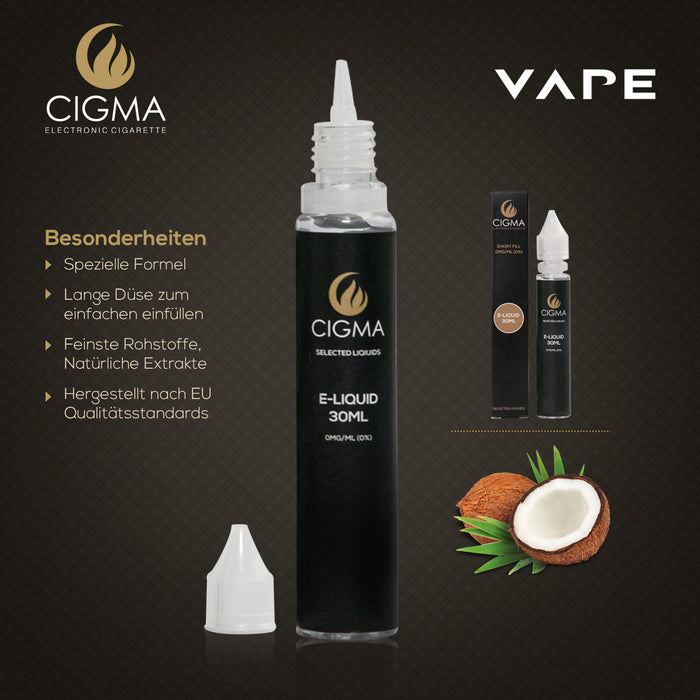 CIGMA| Kokosnuss 30ml E Liquid 0mg | Cigee