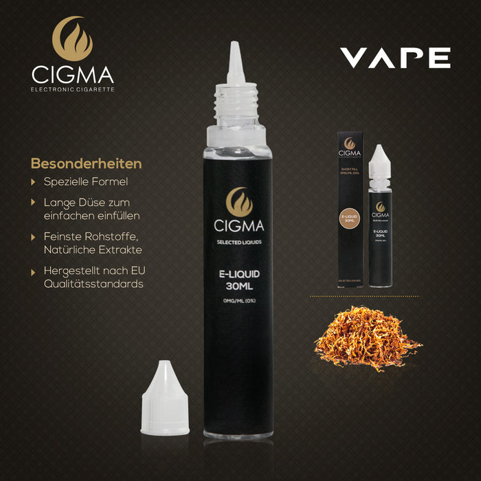 CIGMA Gold Tobacco 30ml E Liquid 0mg | Neue Shortfill Flaschen |