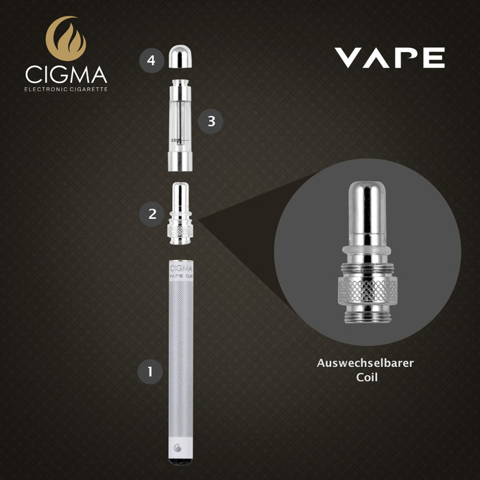 Cigma Vape Coil für Slim Batterie | Chrom - Cigee.de Accessories