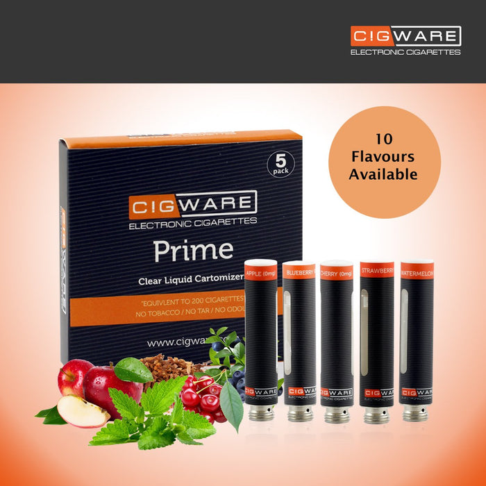 Cigware Prime Clear Cartomizer | Apfel |  E Liquid 5 Pack| Cigee