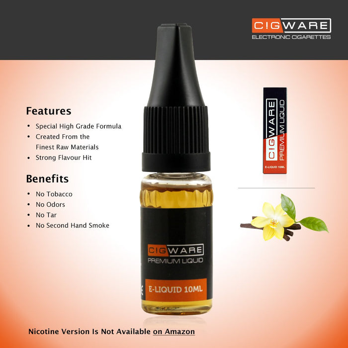 Cigware E liquid 10ml Bottle | Vanilla Flavour | Best Custom Forumla Only | Refill For E cigarette und E Shisha | Money Back If Unsatisfied - Cigware - CIGEE