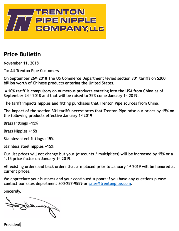 Price Bulletin Update Effective 01/01/19 - Section 301 Tariffs