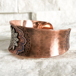 MANDALA COPPER AND SILVER CUFF BRACELET