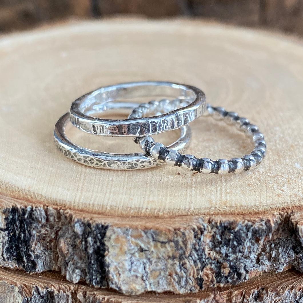 ANTIQUED RING STACK - SET OF 3