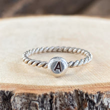 ANTIQUED GRAD RING WITH INITIAL - SET OF 2