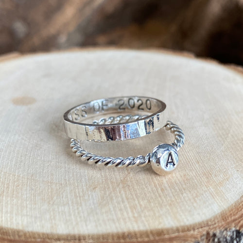SHINY CLASS OF 2020 AND INITIAL STACKING RINGS
