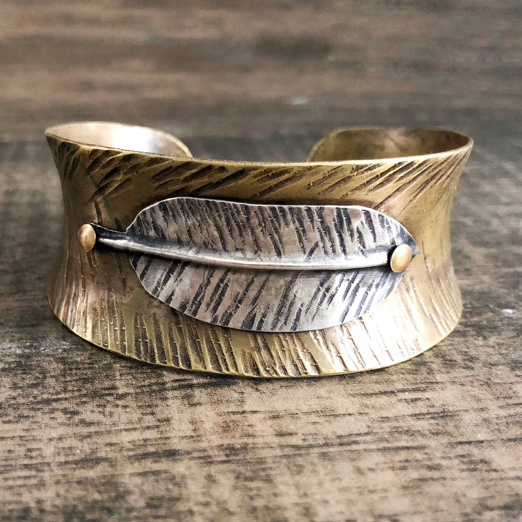 BRASS AND SILVER FEATHER CUFF