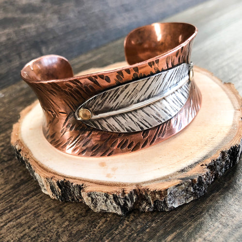 COPPER AND SILVER FEATHER CUFF