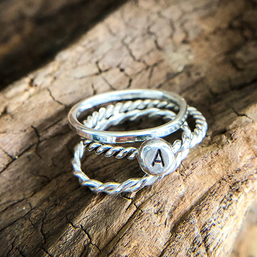 INITIAL STACK OF RINGS - SET OF 3