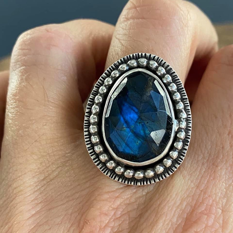 BIG ASS BLUE LABRADORITE RING