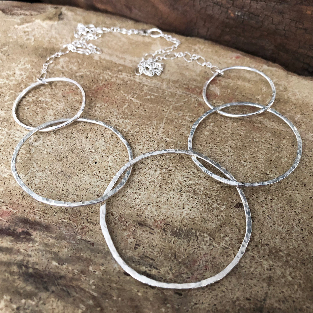 STERLING SILVER 5 HOOP STATEMENT NECKLACE