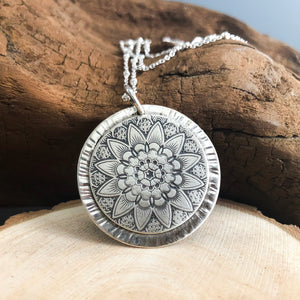 STERLING SILVER RADIATING MANDALA PENDANT