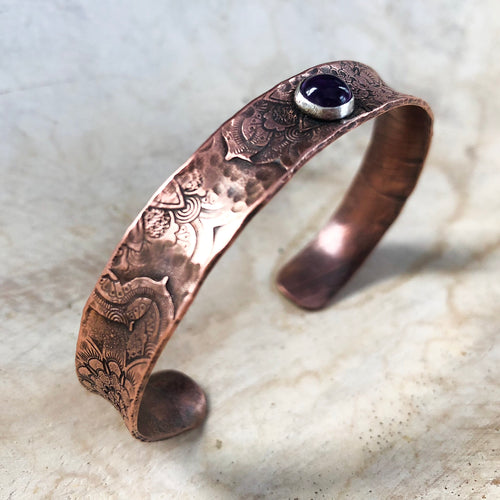 COPPER MANDALA CUFF WITH AMETHYST