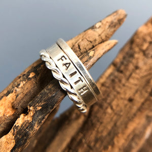 HAND STAMPED STERLING SILVER STACKING RINGS