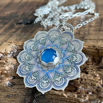 COLORFUL STERLING MANDALA PENDANT