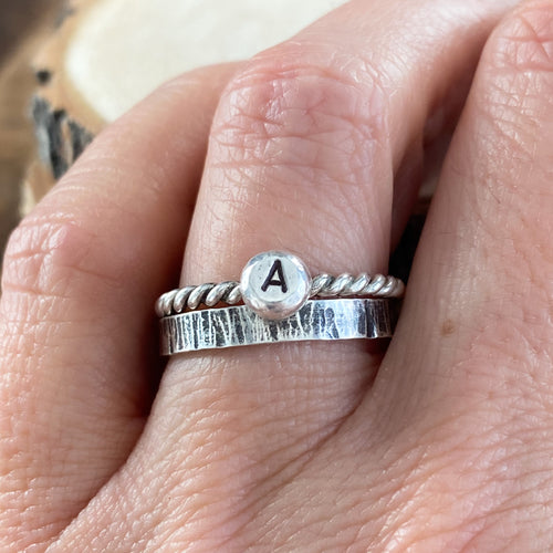 ANTIQUED CLASS OF 2020 AND INITIAL STACKING RINGS