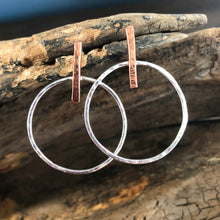 SILVER AND COPPER HOOP POST EARRINGS