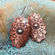 MANDALA EARRINGS IN COPPER AND SILVER