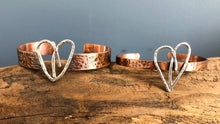 SKINNY HEART CUFF IN COPPER AND SILVER