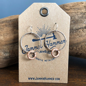 SILVER AND COPPER HOOP DANGLE EARRINGS