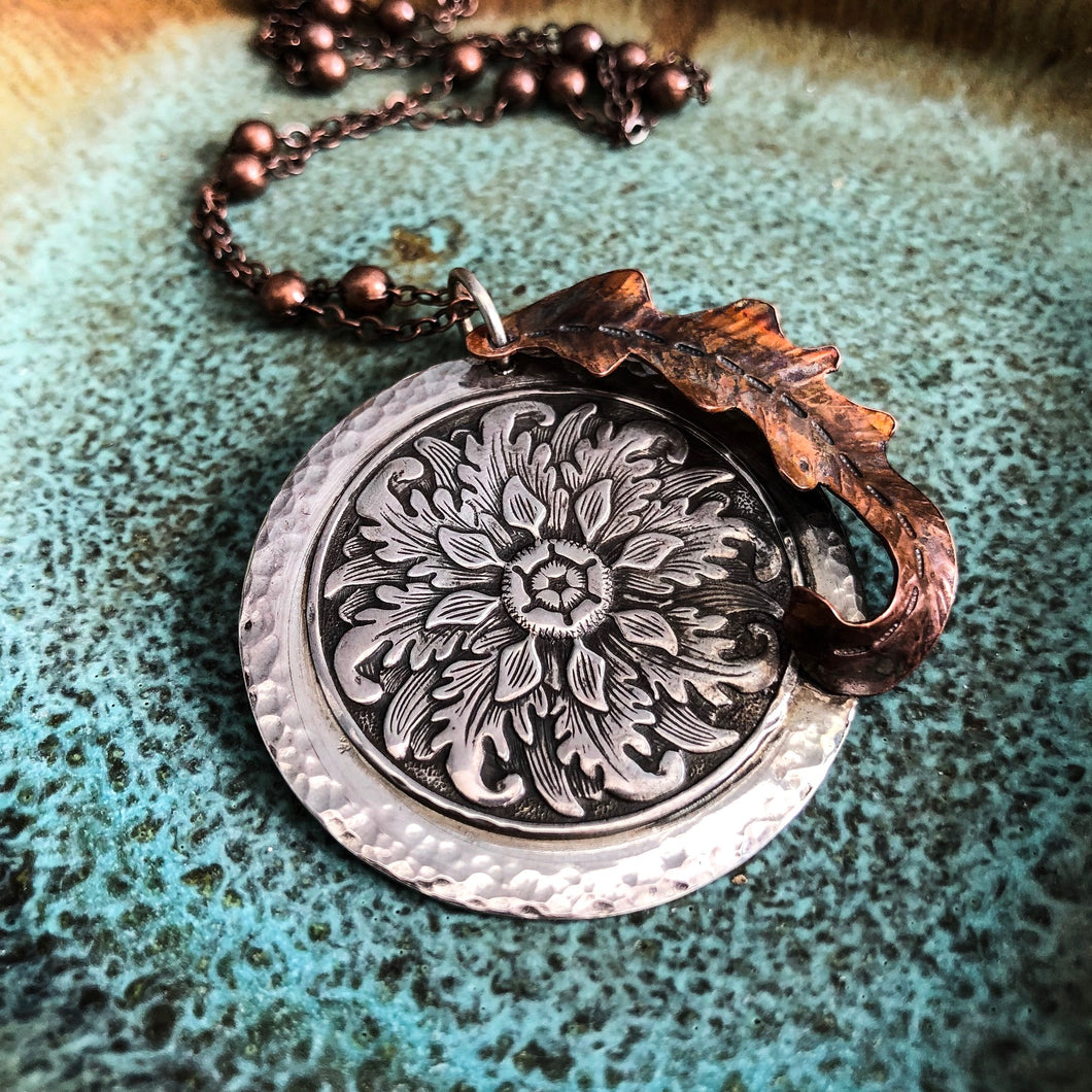 SILVER AND COPPER BOHO LEAF NECKLACE