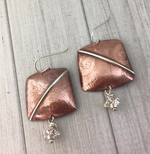 COPPER AND SILVER SQUARE TEXTURED EARRINGS