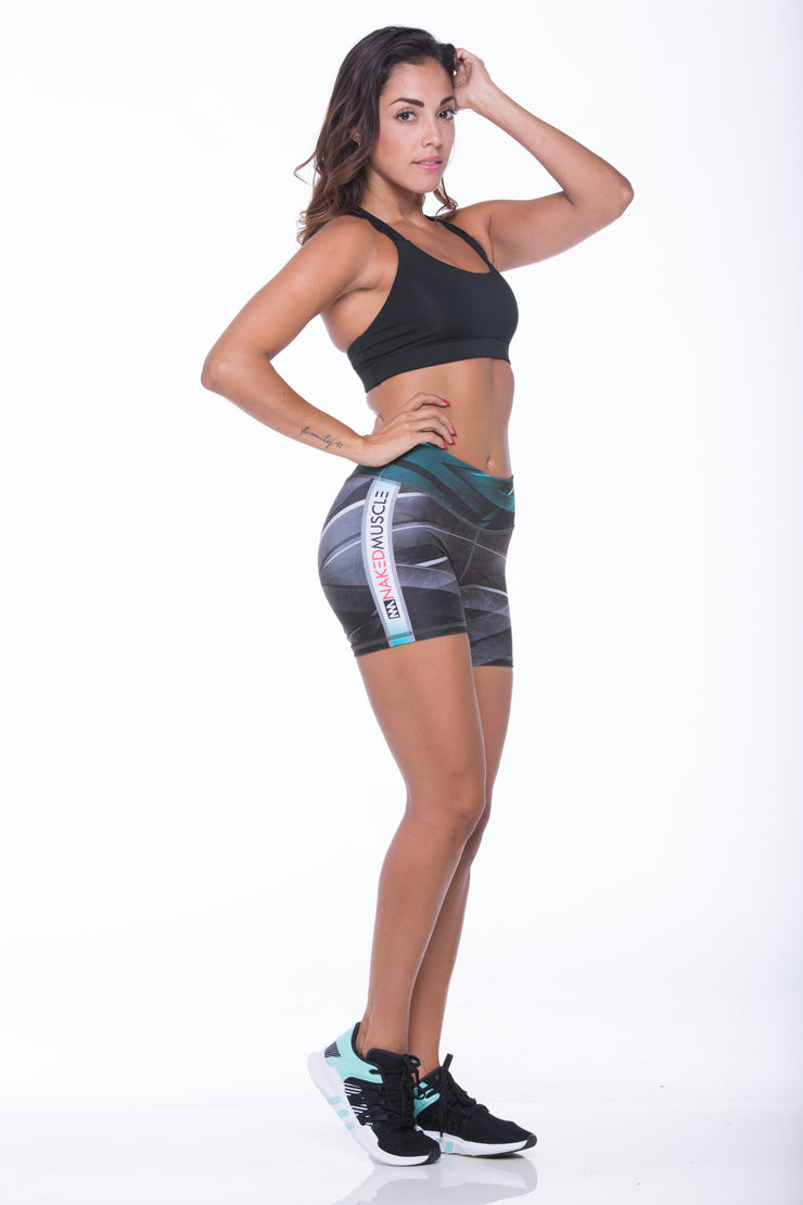 Women's Mid-rise compression shorts. Suggested use: Cross fit, Gym, Zumba, Pilates, Yoga, Spinning, Running