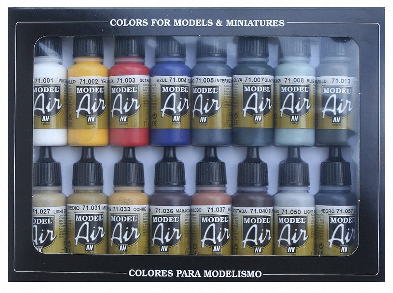 Vallejo Model Air Paint Set, 17ml (Pack of 16) - Painting Supplies - The Hooded Goblin