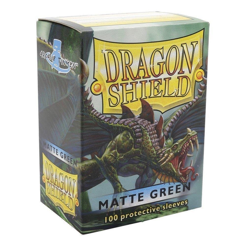 Dragon Shield Sleeves: Matte Green (100 Ct) - Card Supplies - The Hooded Goblin