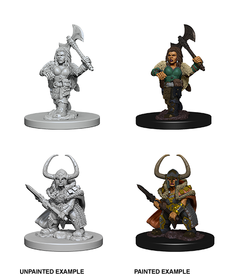 DND UNPAINTED MINIS WV 4 DWARF FEMALE BARBARIAN - Dungeons and Dragons - The Hooded Goblin