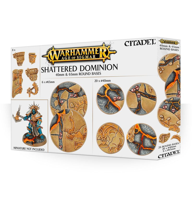Shattered Dominion 40 & 65mm Round Bases - Warhammer: Age of Sigmar - The Hooded Goblin