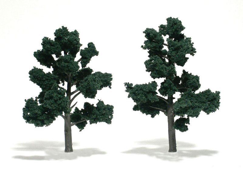 "Woodland Scenics: Ready Made Realistic Trees: Dark Green- 2 Trees (5"" - 6"") -  - The Hooded Goblin"