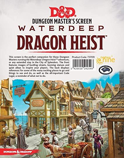 DUNGEONS & DRAGONS - 5TH EDITION - DUNGEON MASTER'S SCREEN - WATERDEEP: DRAGON HEIST - Roleplaying Games - The Hooded Goblin