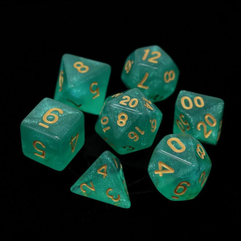POLY RPG SET - HAKURO W/ GOLD - Dice - The Hooded Goblin