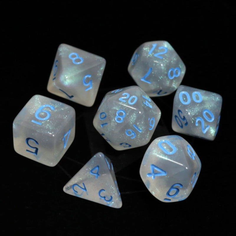 POLY RPG SET - GLACIAL MOONSTONE W/ BLUE - Dice - The Hooded Goblin