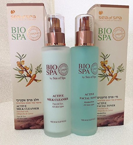 BIO SPA Super Mineral Cleansing Active Facial Toner & Active Milk Cleanser SET of 2  5.07 fl.oz Each