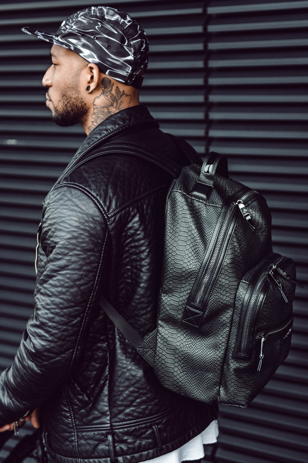 ELWOOD BACKPACK ANTHRACITE SNAKE