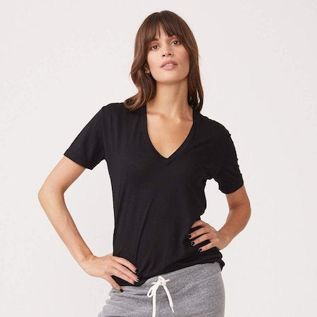 Relaxed V Neck in Black, MONROW - VALLEY TRIBECA