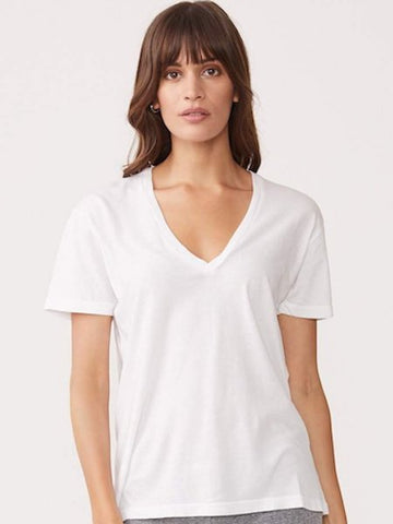 Relaxed V Neck in White, MONROW - VALLEY TRIBECA