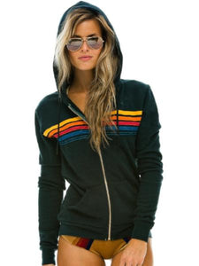 5 stripe Hoodie in Charcoal, AVIATOR NATION - VALLEY TRIBECA