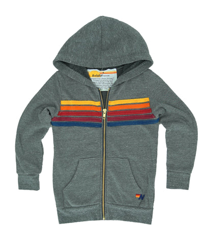 5 Stripe Zip Hoodie in Heather Grey, AVIATOR NATION KIDS - VALLEY TRIBECA