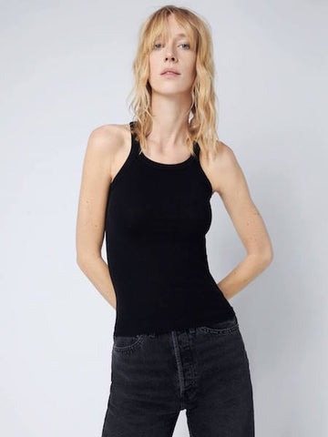 Ribbed Tank in Black, RE/DONE - VALLEY TRIBECA