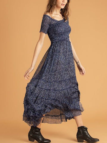 Soledad Dress in Blue Amarylis