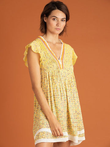 Sasha Dress in Yellow Mirror, POUPETTE ST BARTH - VALLEY TRIBECA