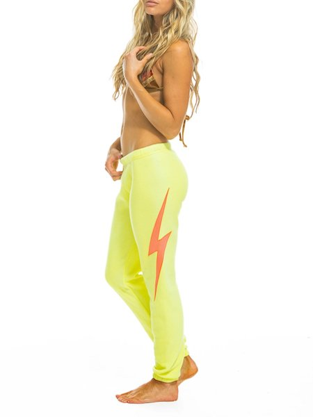 Bolt Stitch Sweatpants in Neon Yellow, AVIATOR NATION - VALLEY TRIBECA